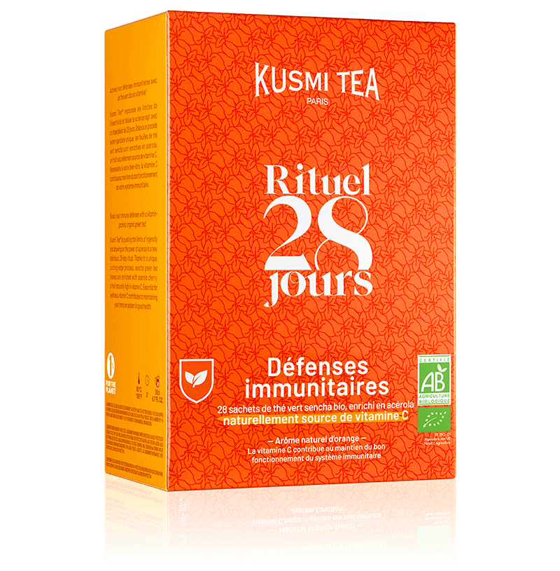 Rituel Défenses Immunitaires bio - Thé vert sencha bio enrichi en vitamine C - orange et acérola - 28 sachets de thé - Kusmi Tea