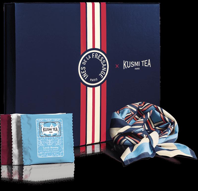 Coffret bio Les voyages d Ines - Assortiment de 40 sachets de thés et infusions aromatisés accompagné d'un foulard en coton bio (50x50cm) - Kusmi Tea