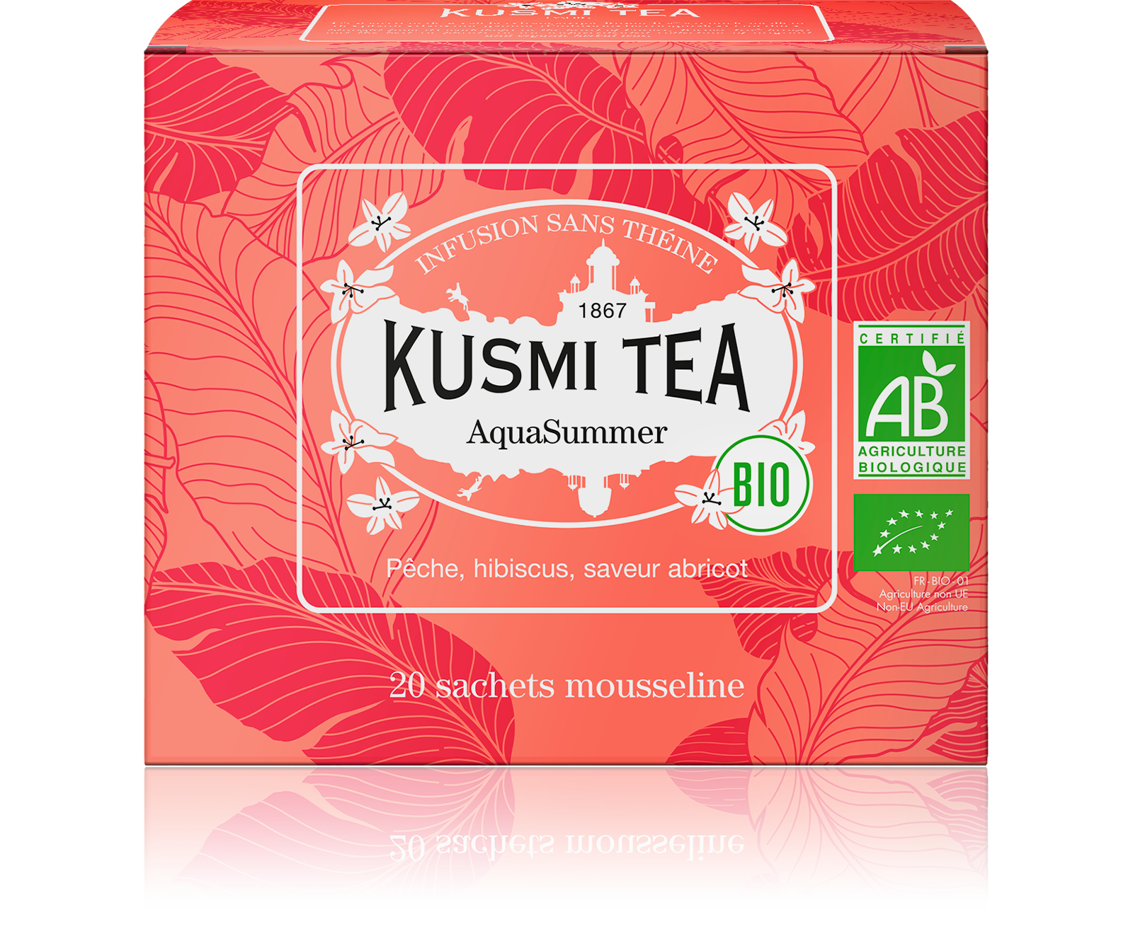 Infusion d'hibiscus bio - AquaSummer (Infusion de fruits bio) - Sachets - Kusmi Tea