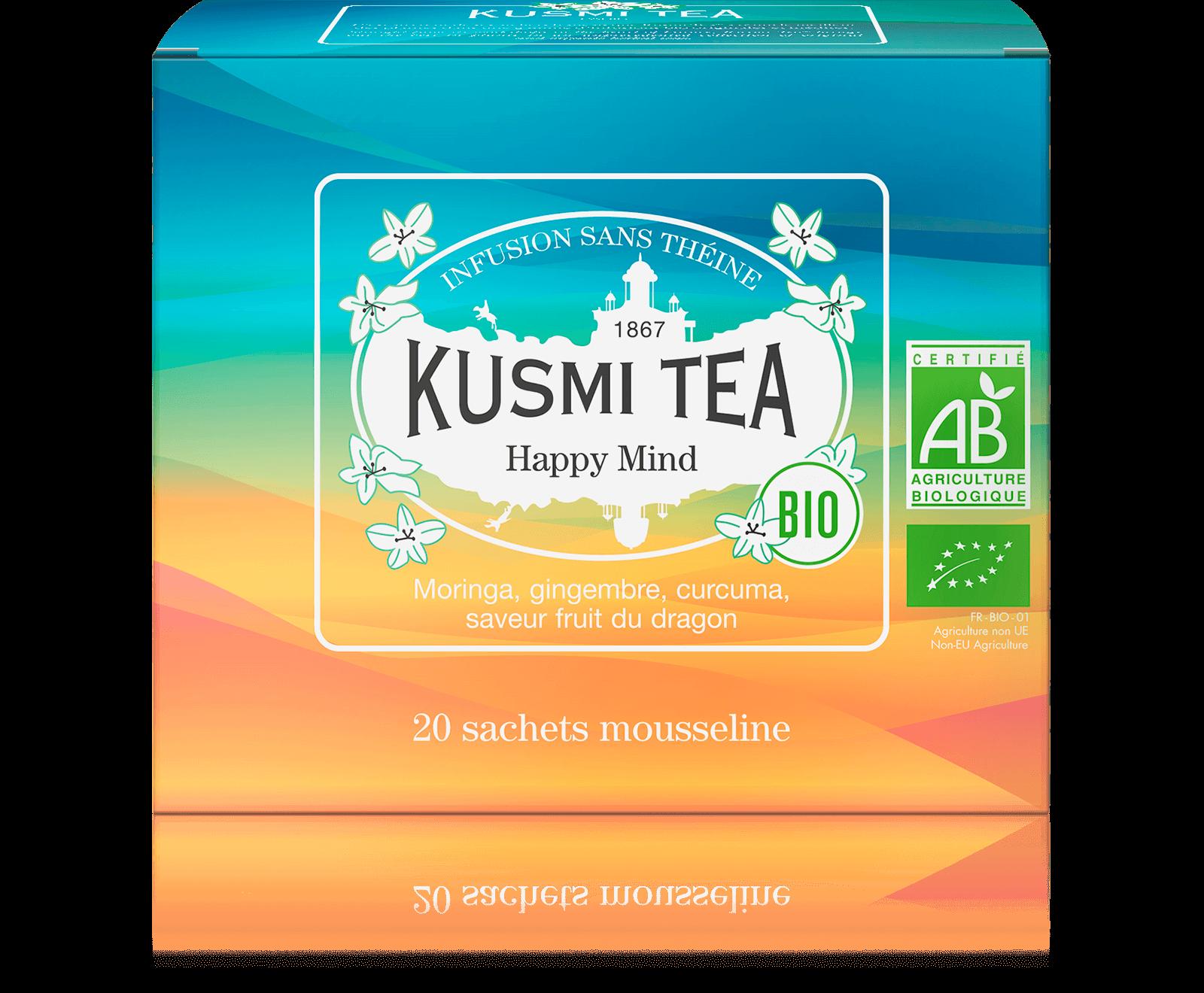 Happy Mind Infusion bio - Infusion de plantes, pomme - Sachets de thé - Kusmi Tea
