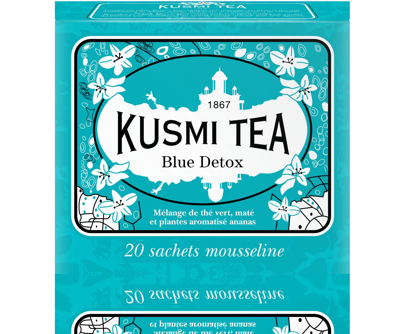 Thé vert, maté, rooibos - Blue Detox - Sachets - Kusmi Tea