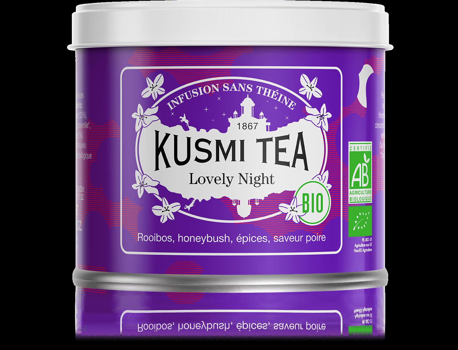 Lovely Night Infusion bio - Rooibos, honeybush, tilleul - Boîte de thé en vrac - Kusmi Tea