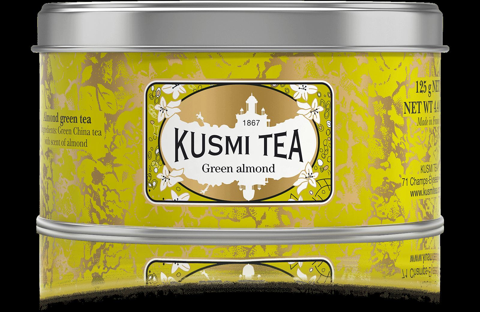 Vert Amande - Thé vert à l'amande - Boîte de thé en vrac - Kusmi Tea