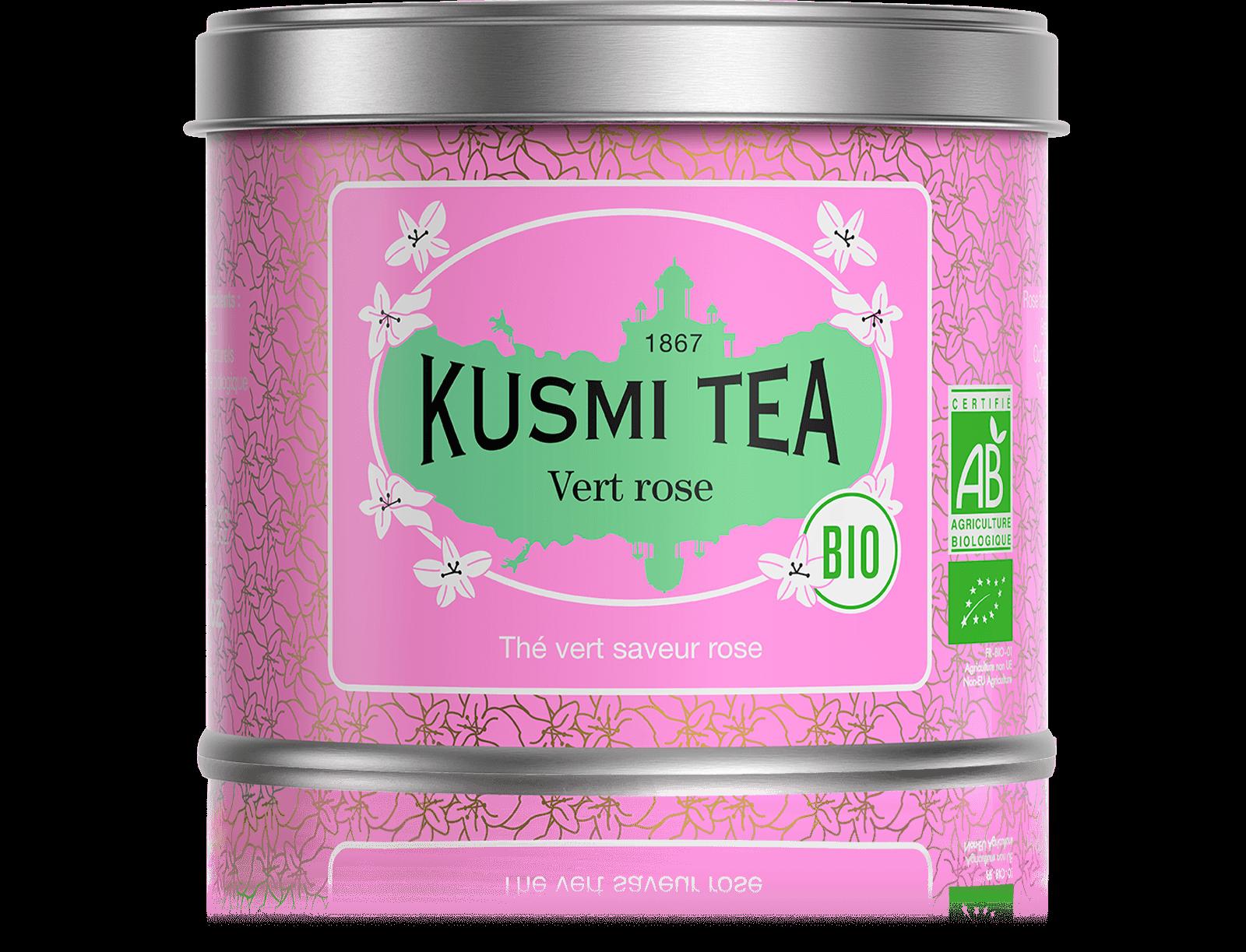 Vert rose bio - Thé vert à la rose - Boîte de thé en vrac - Kusmi Tea