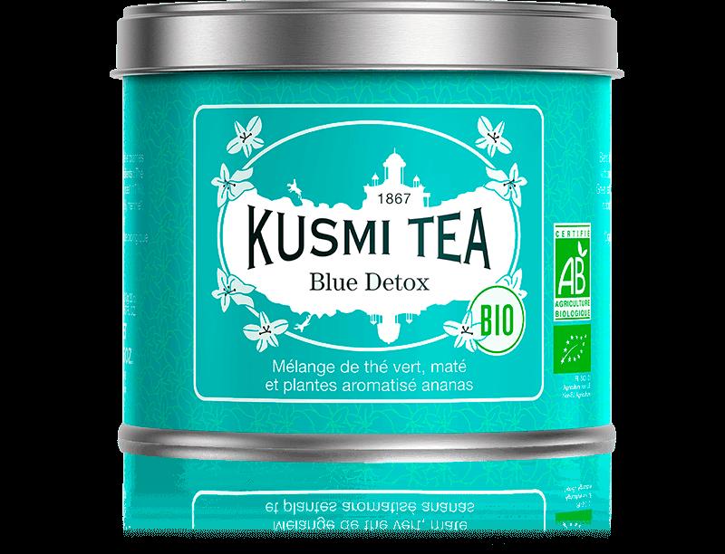 Blue Detox bio - Mélange de thé vert, maté et plantes aromatisé ananas - Boite à thé en vrac - Kusmi Tea