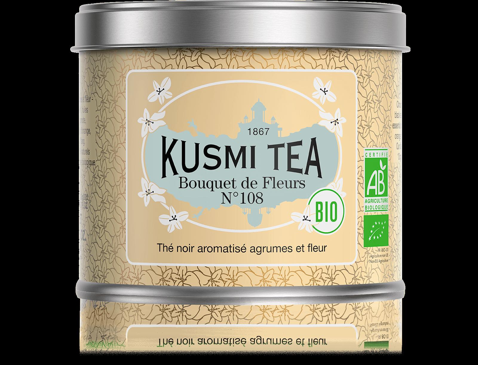 Bouquet de Fleurs N°108 bio - Thé earl grey, fleur Ylang-Ylang - Boîte de thé en vrac - Kusmi Tea