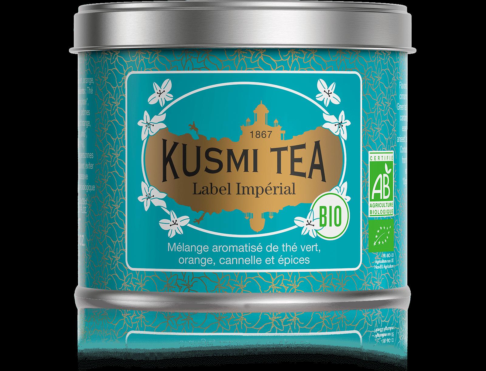 Label Imperial bio - Thé vert, épices, cannelle - Boîte de thé en vrac - Kusmi Tea