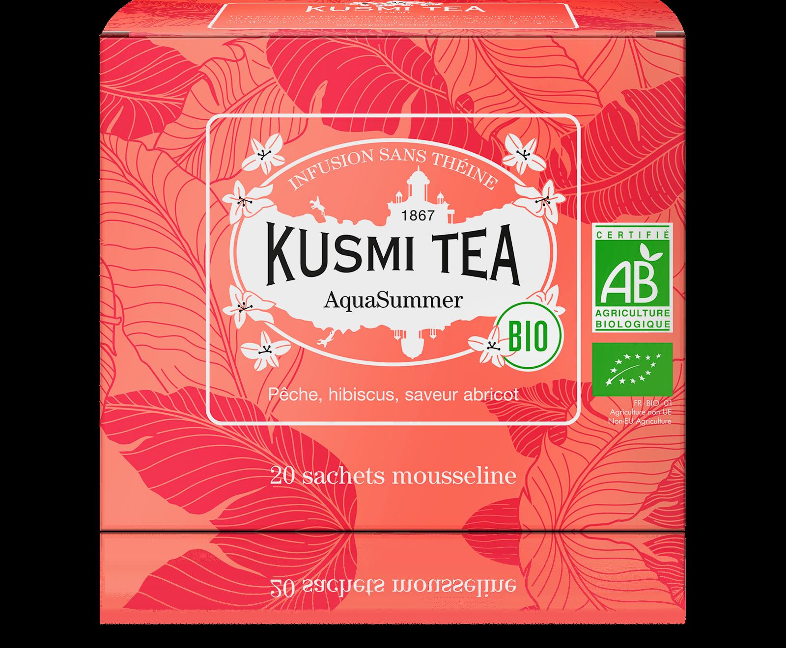 AquaSummer Infusion de fruits bio - Infusion hibiscus, pêche, abricot - Sachets de thé - Kusmi Tea