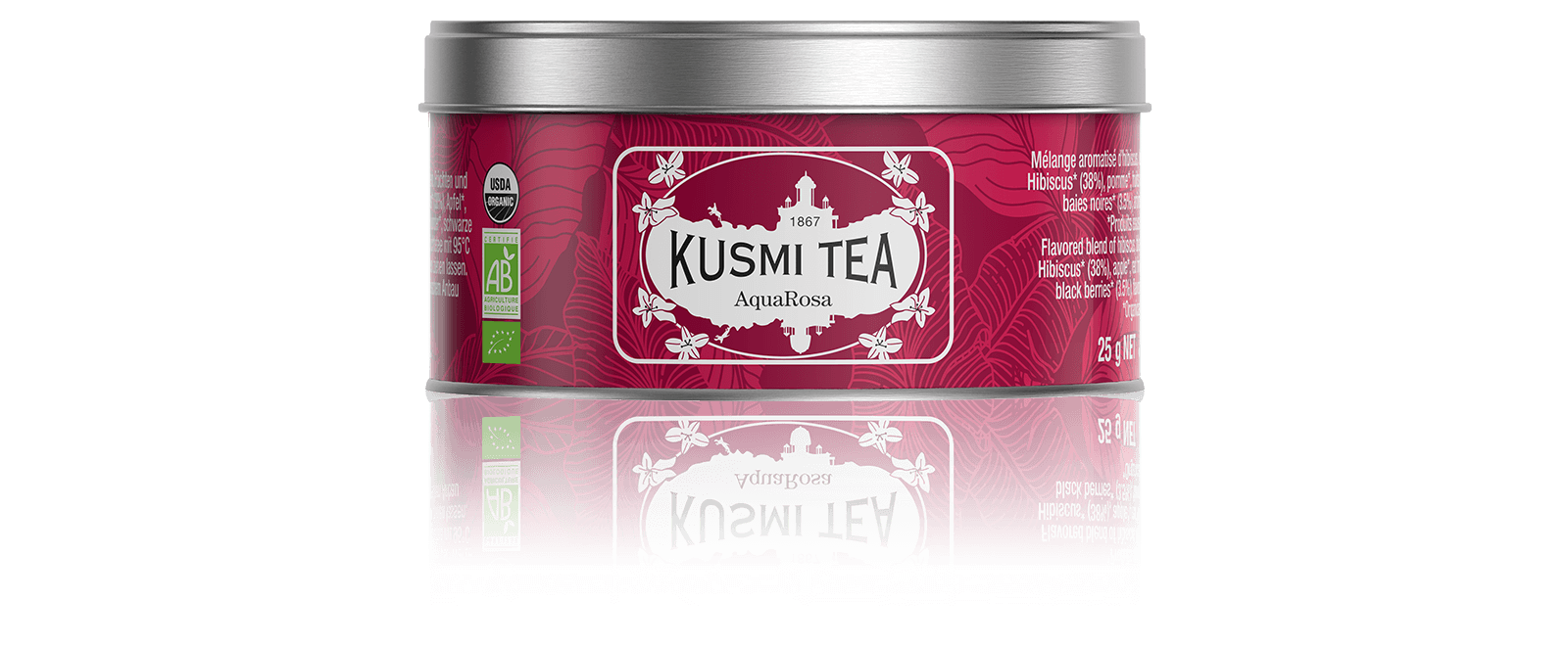 AquaRosa Infusion de fruits bio - Infusion hibiscus, fruits rouges - Boîte de thé en vrac - Kusmi Tea
