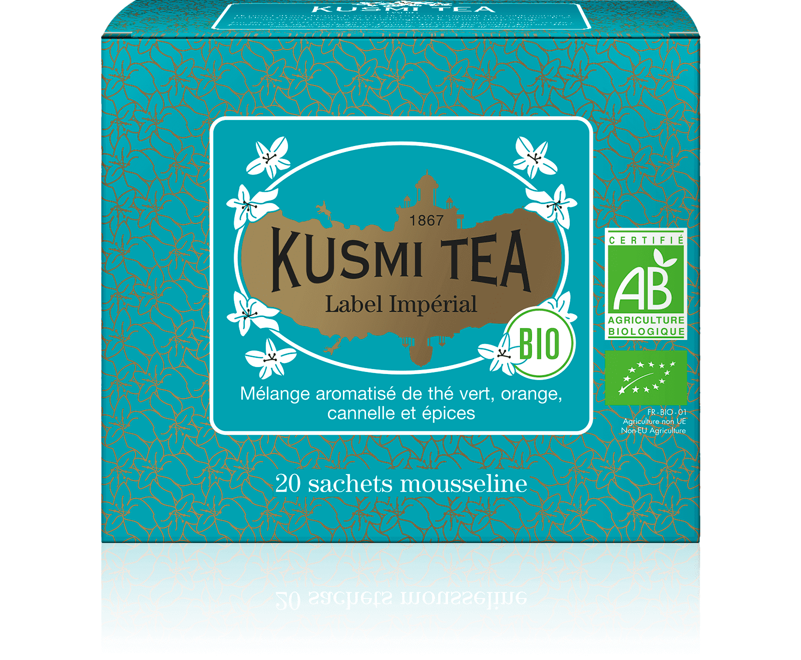 Label Imperial bio - Thé vert, épices, cannelle - Sachets de thé - Kusmi Tea