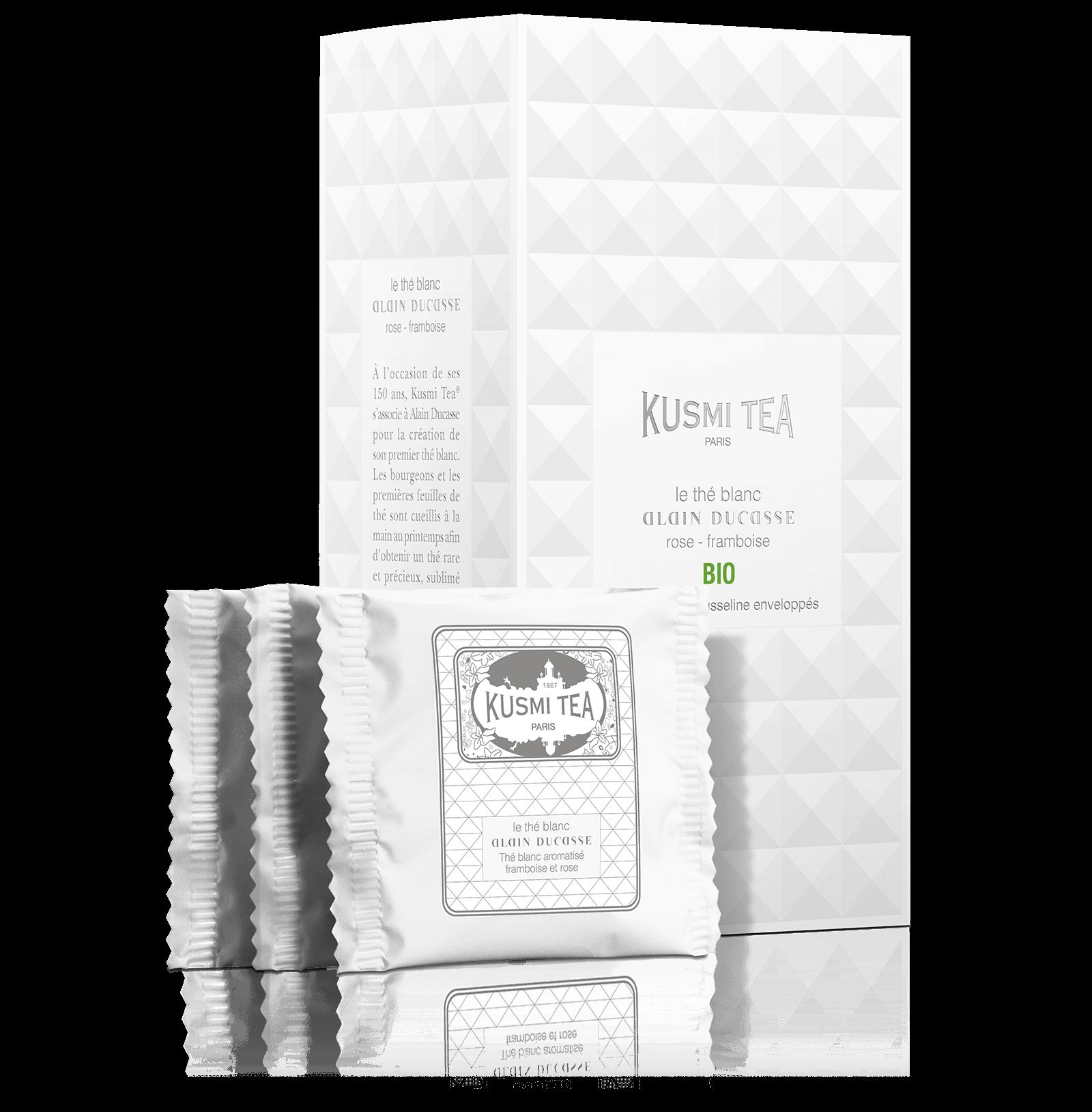 Le Thé Blanc Alain Ducasse Bio - Thé blanc aromatisé framboise et rose - Sachets de thé - Kusmi Tea