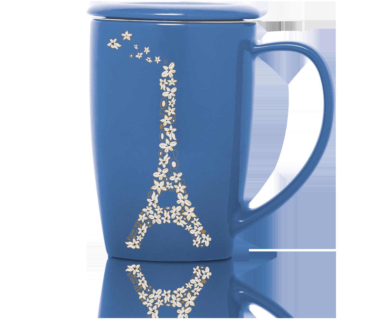 French Mug en céramique avec filtre et couvercle - Bleu