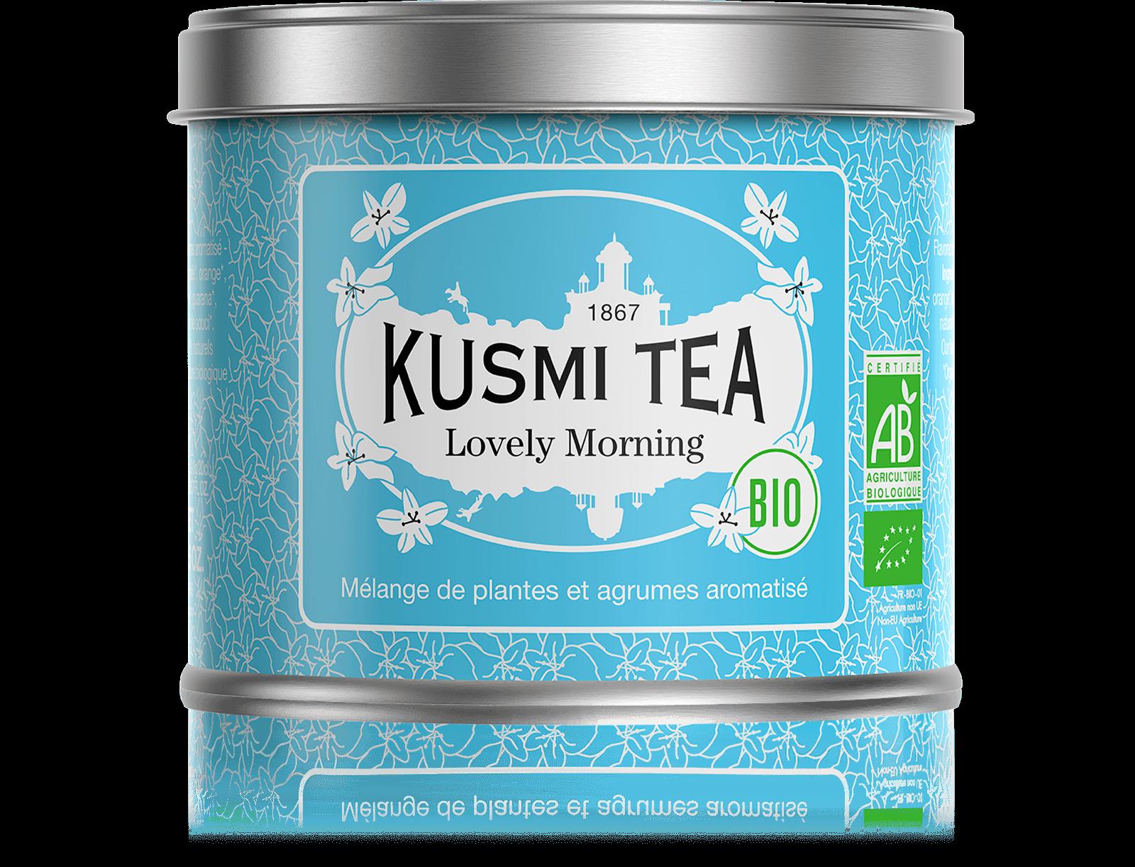 Lovely Morning bio - Thé vert, maté, agrumes - Boîte de thé en vrac - Kusmi Tea