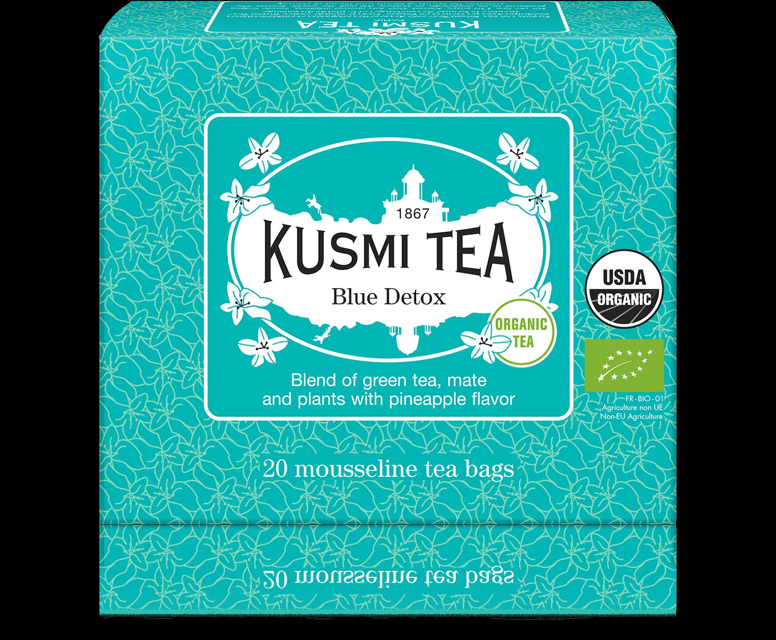 Blue Detox bio - Mélange de thé vert, maté et plantes aromatisé ananas - Sachets de thé - Kusmi Tea