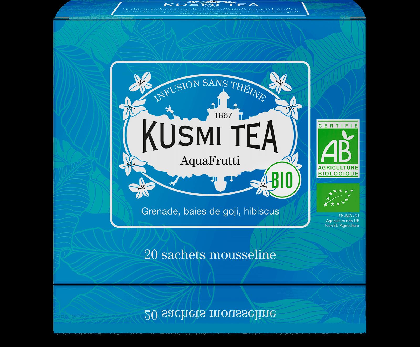 AquaFrutti Infusion de fruits bio - Infusion hibiscus, baies de goji - Sachets de thé - Kusmi Tea