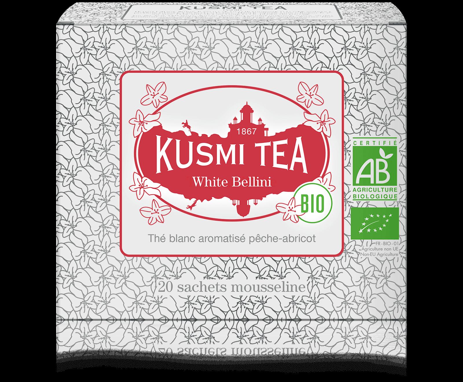White Bellini bio - Thé blanc aromatisé pêche-abricot - Sachets de thé - Kusmi Tea