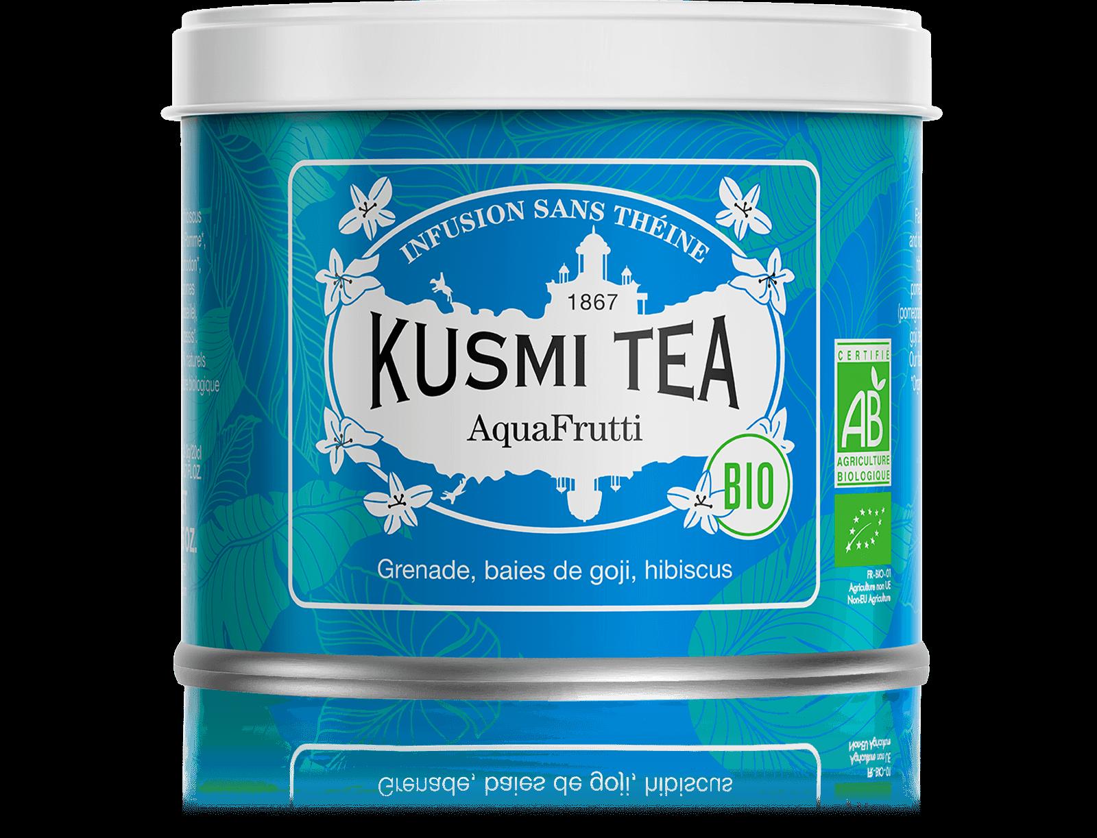 AquaFrutti Infusion de fruits bio - Infusion hibiscus, baies de goji - Boîte de thé en vrac - Kusmi Tea