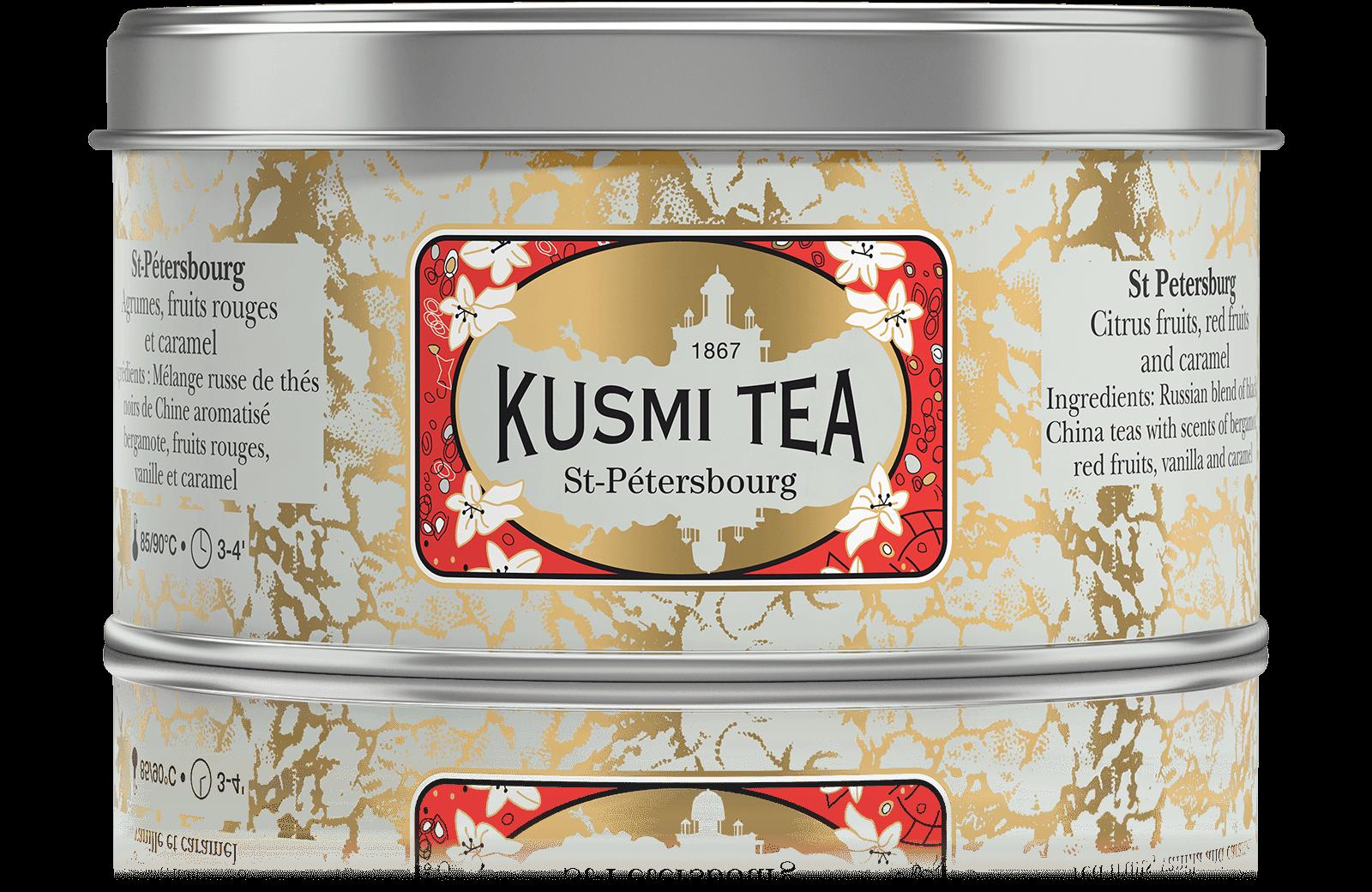 St-Pétersbourg - Thé noir earl grey, caramel, fruit - Boîte de thé en vrac - Kusmi Tea