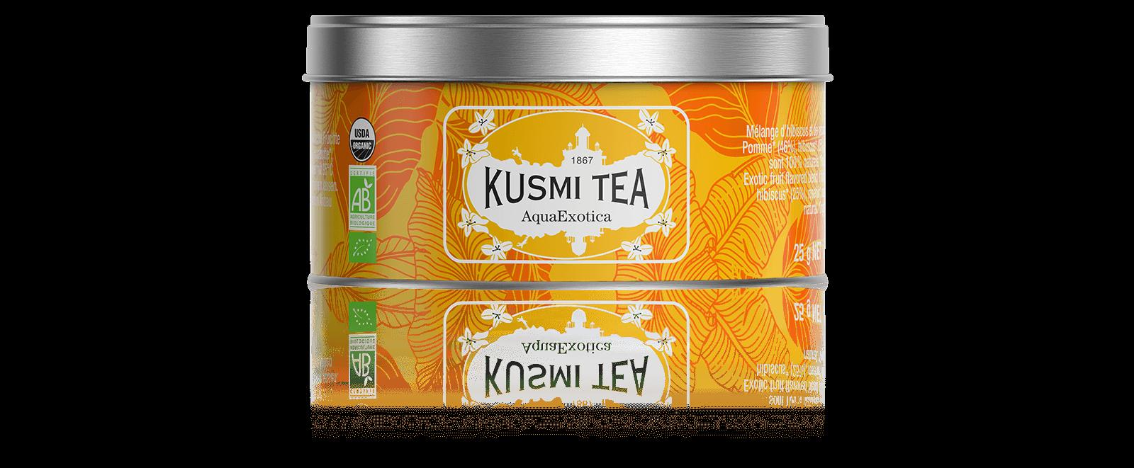 AquaExotica Infusion de fruits bio - Mélange d'hibiscus et de pomme saveur fruits exotiques - Boite à thé en vrac - Kusmi Tea