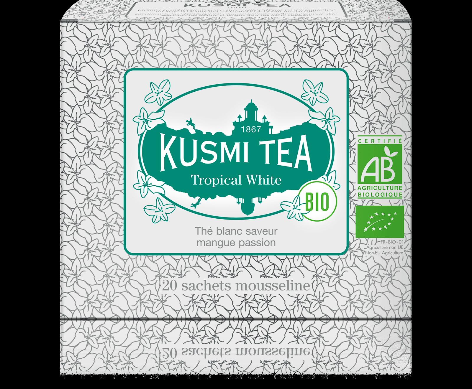 Tropical White bio - Thé blanc, mangue, passion - Sachets de thé - Kusmi Tea
