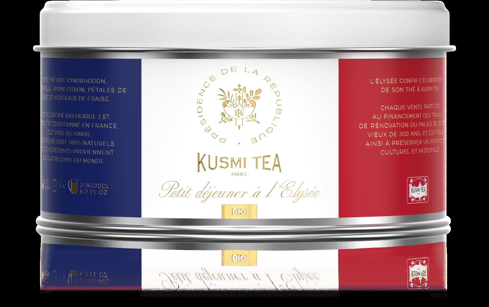 Petit déjeuner à l'Elysée bio - Thé vert, maté, citron - Boîte de thé en vrac - Kusmi Tea