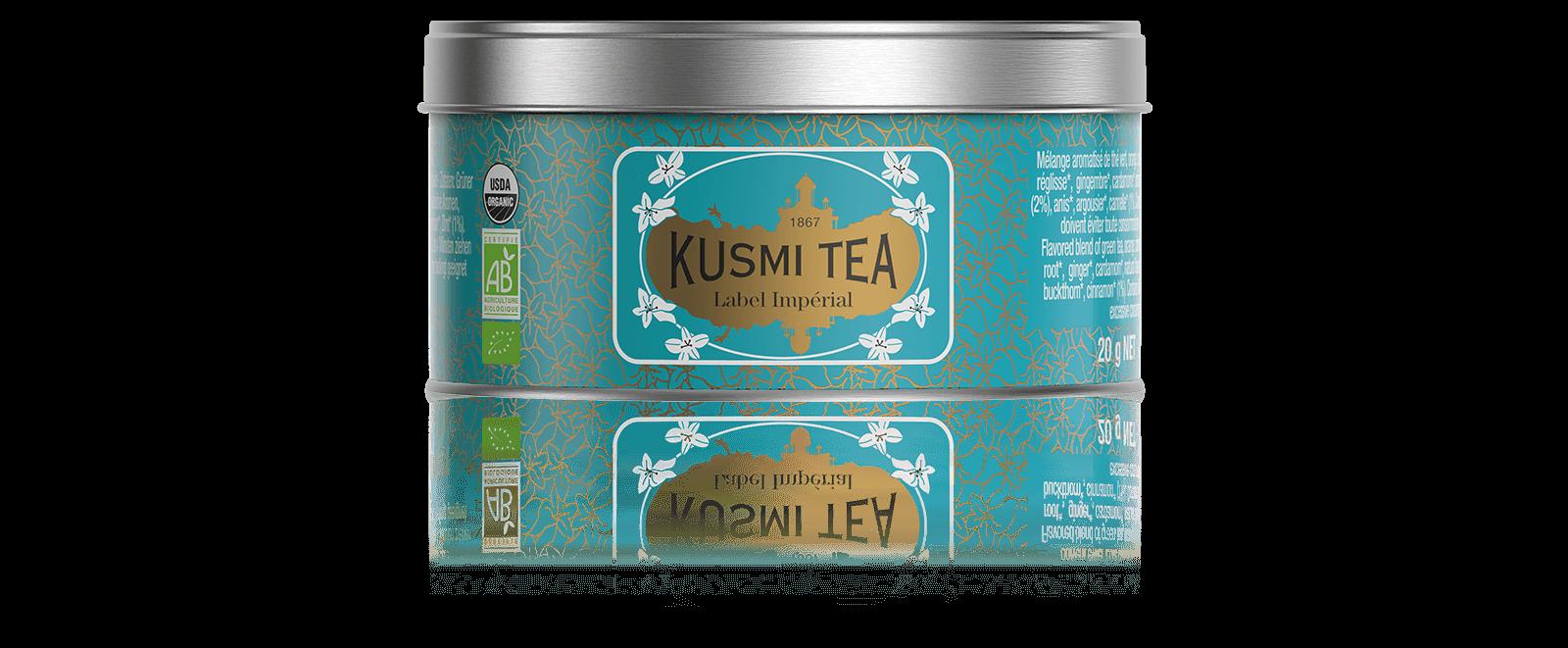 Label Imperial bio - Mélange aromatisé de thé vert, agrumes et épices. - Boite à thé en vrac - Kusmi Tea