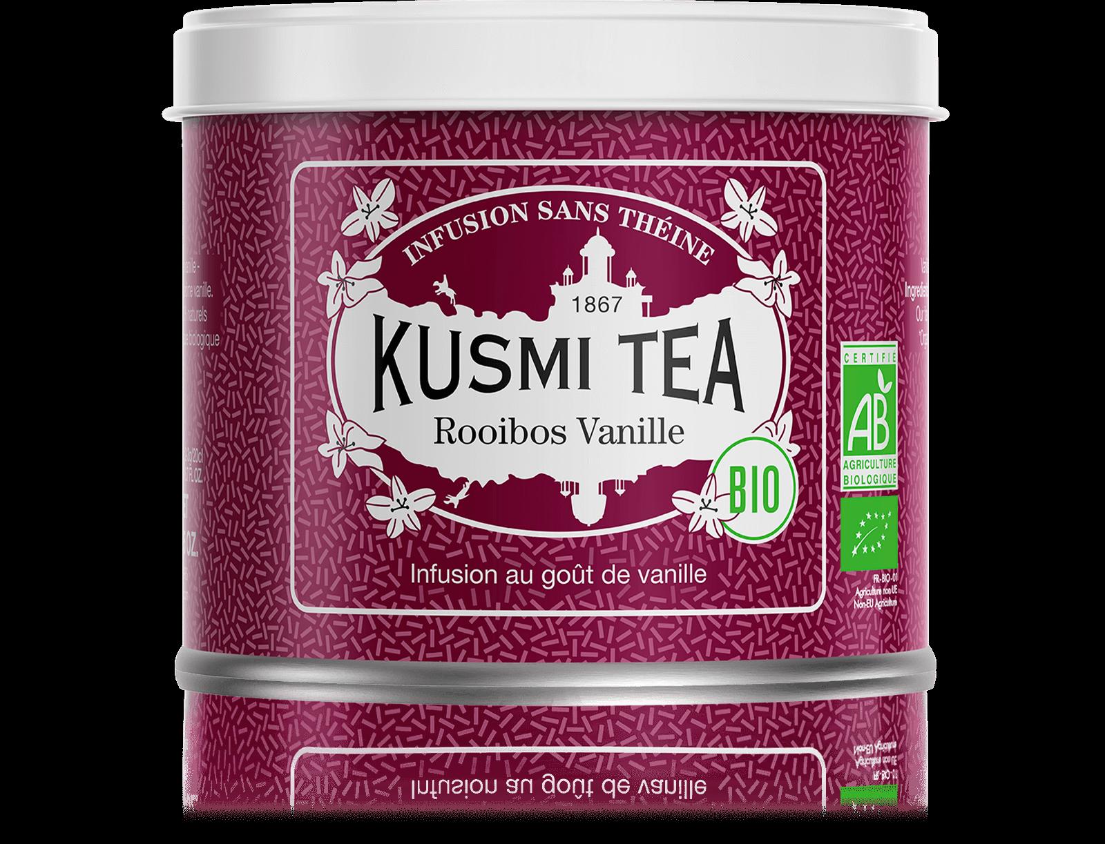Rooibos Vanille Infusion bio - Infusion au goût de vanille - Boite à thé en vrac - Kusmi Tea