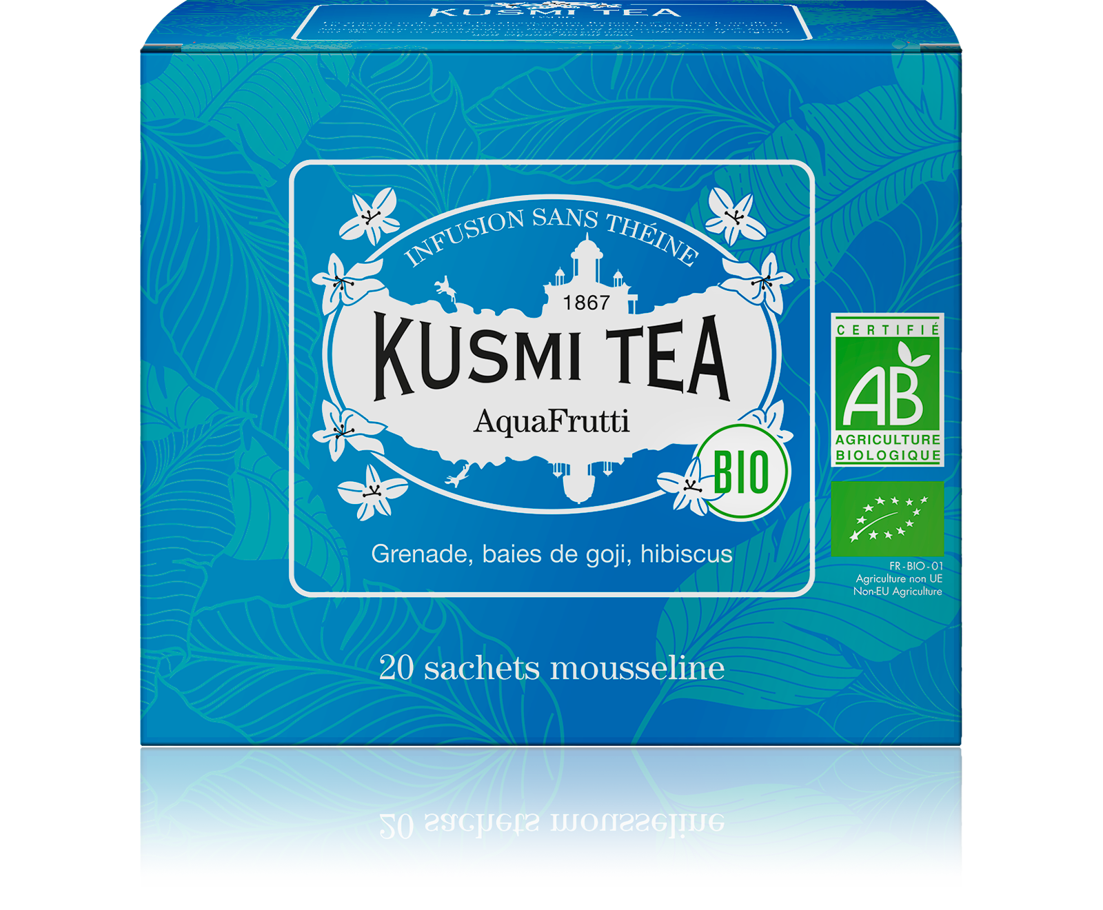 Infusion d'hibiscus bio - AquaFrutti (Infusion de fruits bio) - Sachets - Kusmi Tea