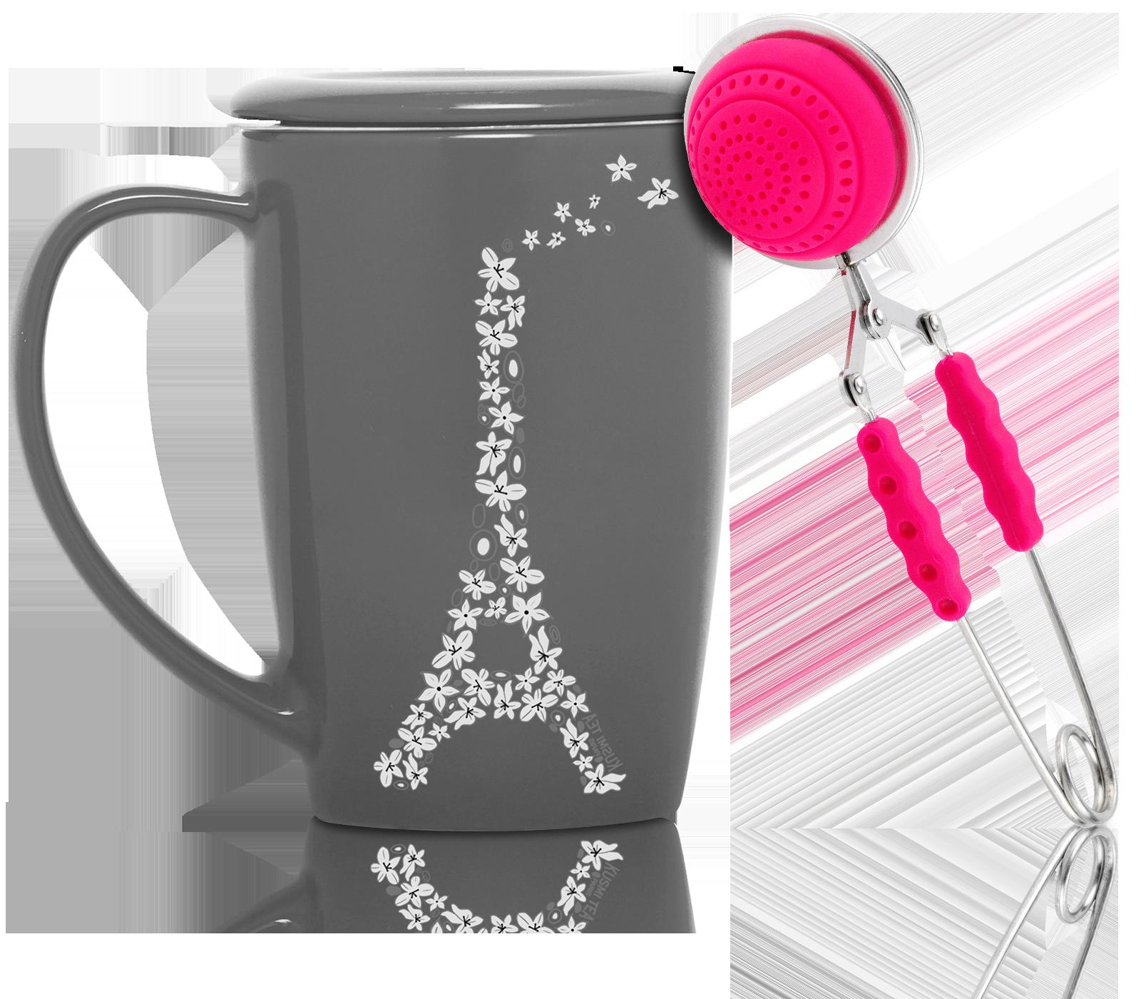 Pince à thé silicone rose pour 1 tasse
