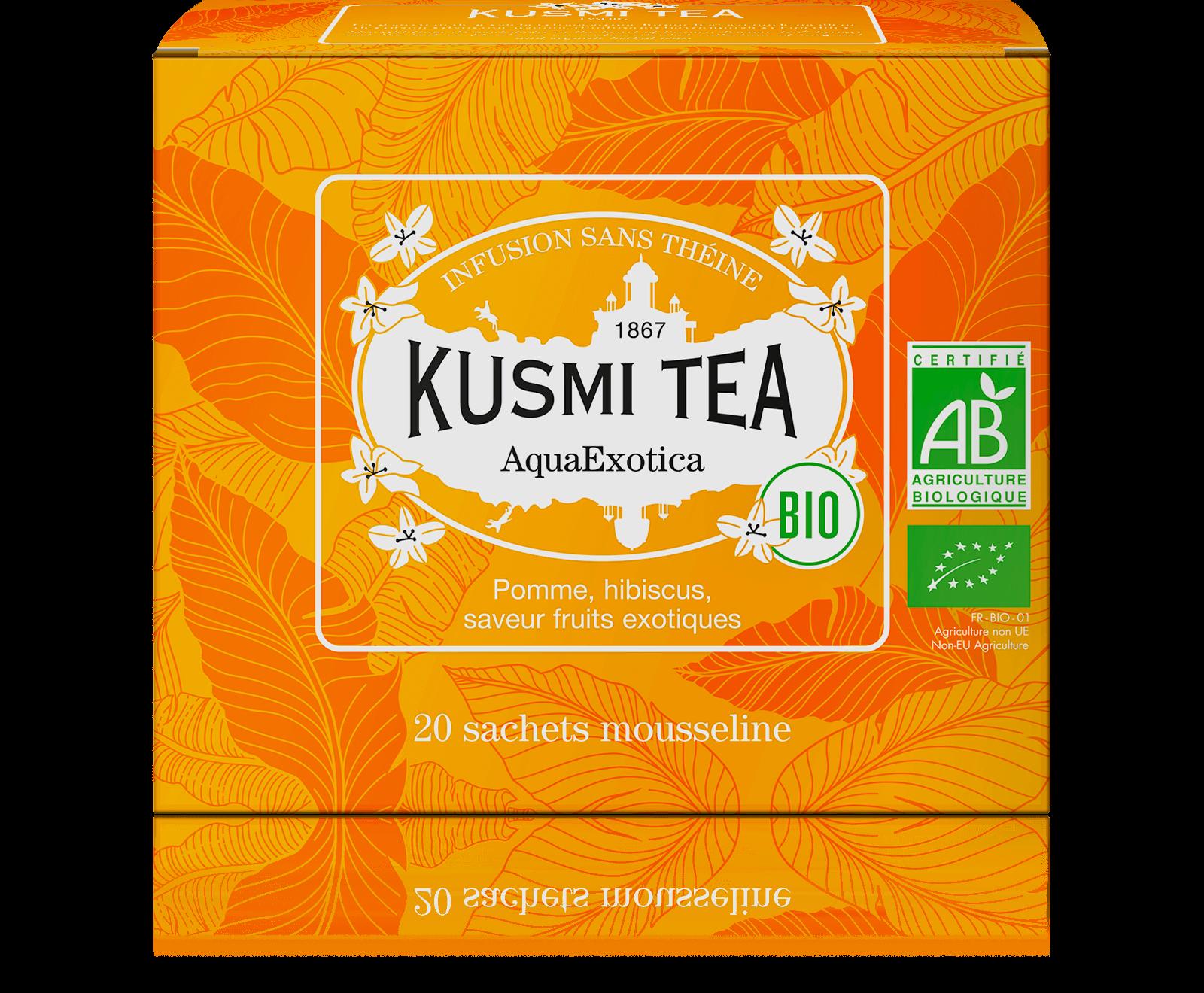 AquaExotica Infusion de fruits bio - Infusion hibiscus, mangue - Sachets de thé - Kusmi Tea