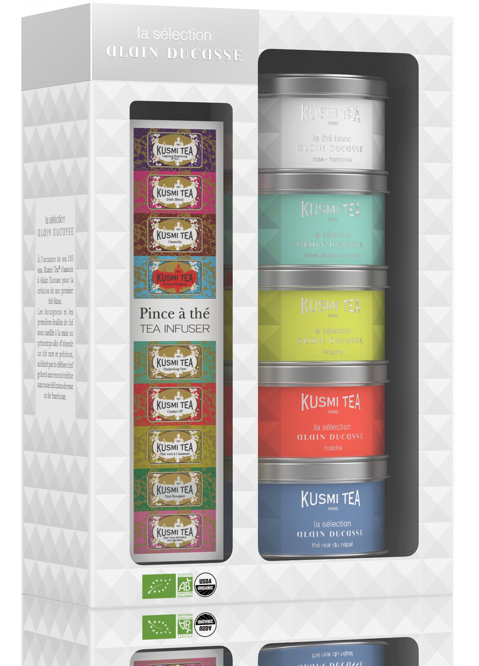 Coffret de thé - Coffret La Sélection Alain Ducasse avec une pince à thé - Kusmi Tea