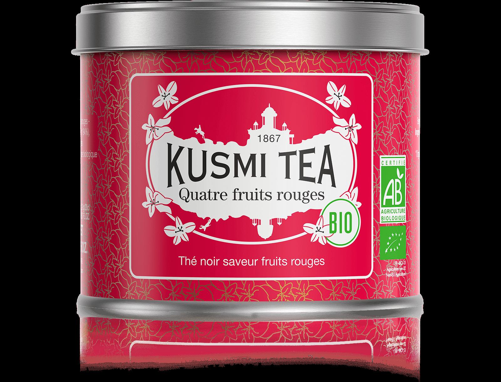Quatre Fruits Rouges bio - Thé noir, fruits rouges - Boîte de thé en vrac - Kusmi Tea