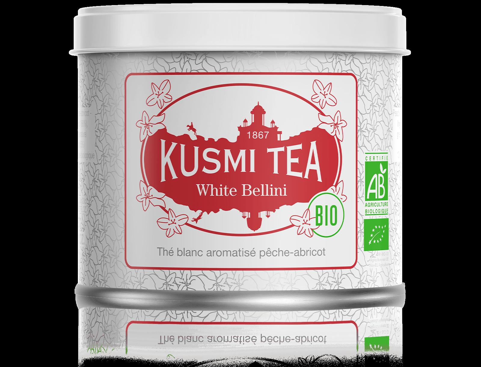 White Bellini bio - Thé blanc aromatisé pêche-abricot - Boite à thé en vrac - Kusmi Tea