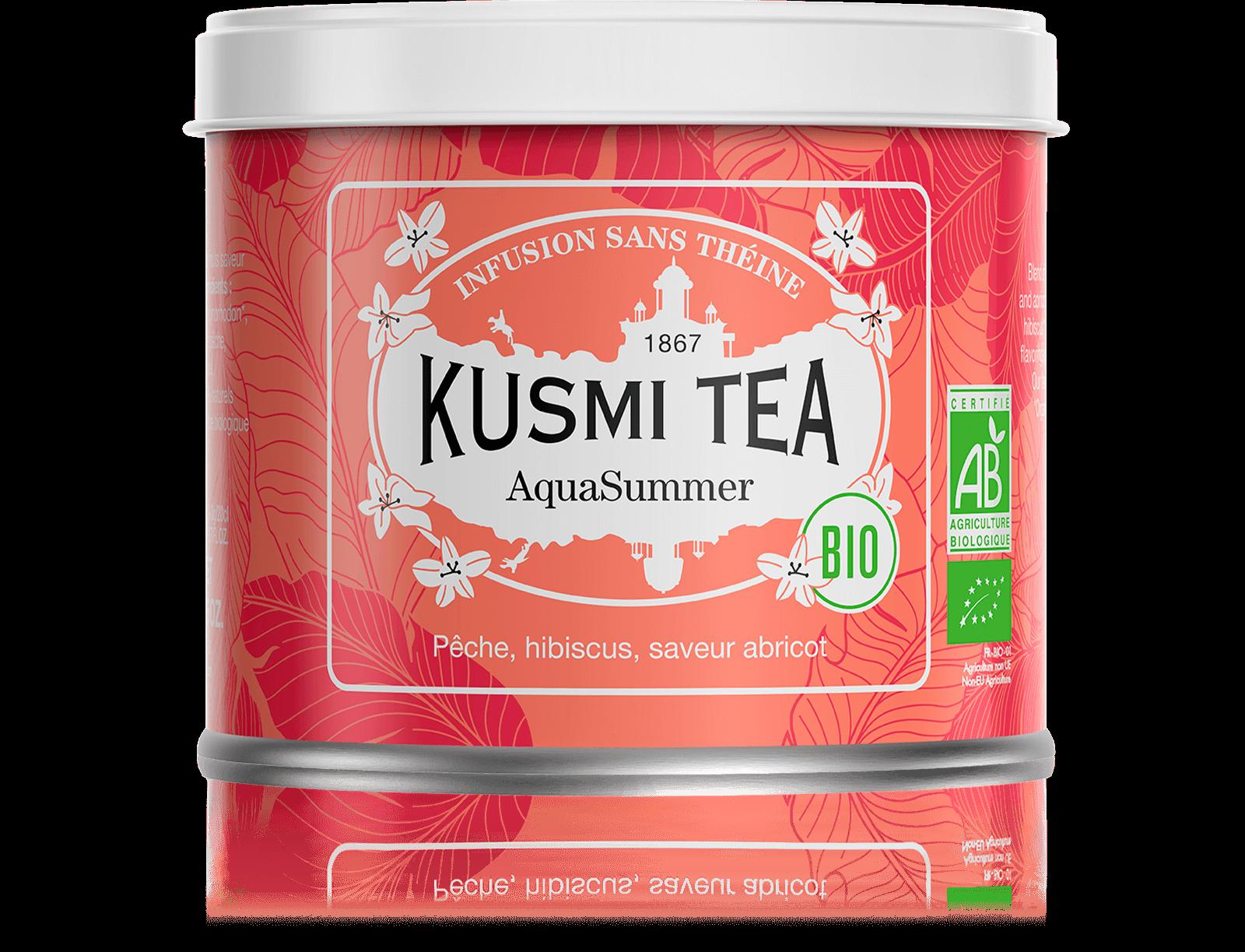AquaSummer Infusion de fruits bio - Infusion hibiscus, pêche, abricot - Boîte de thé en vrac - Kusmi Tea