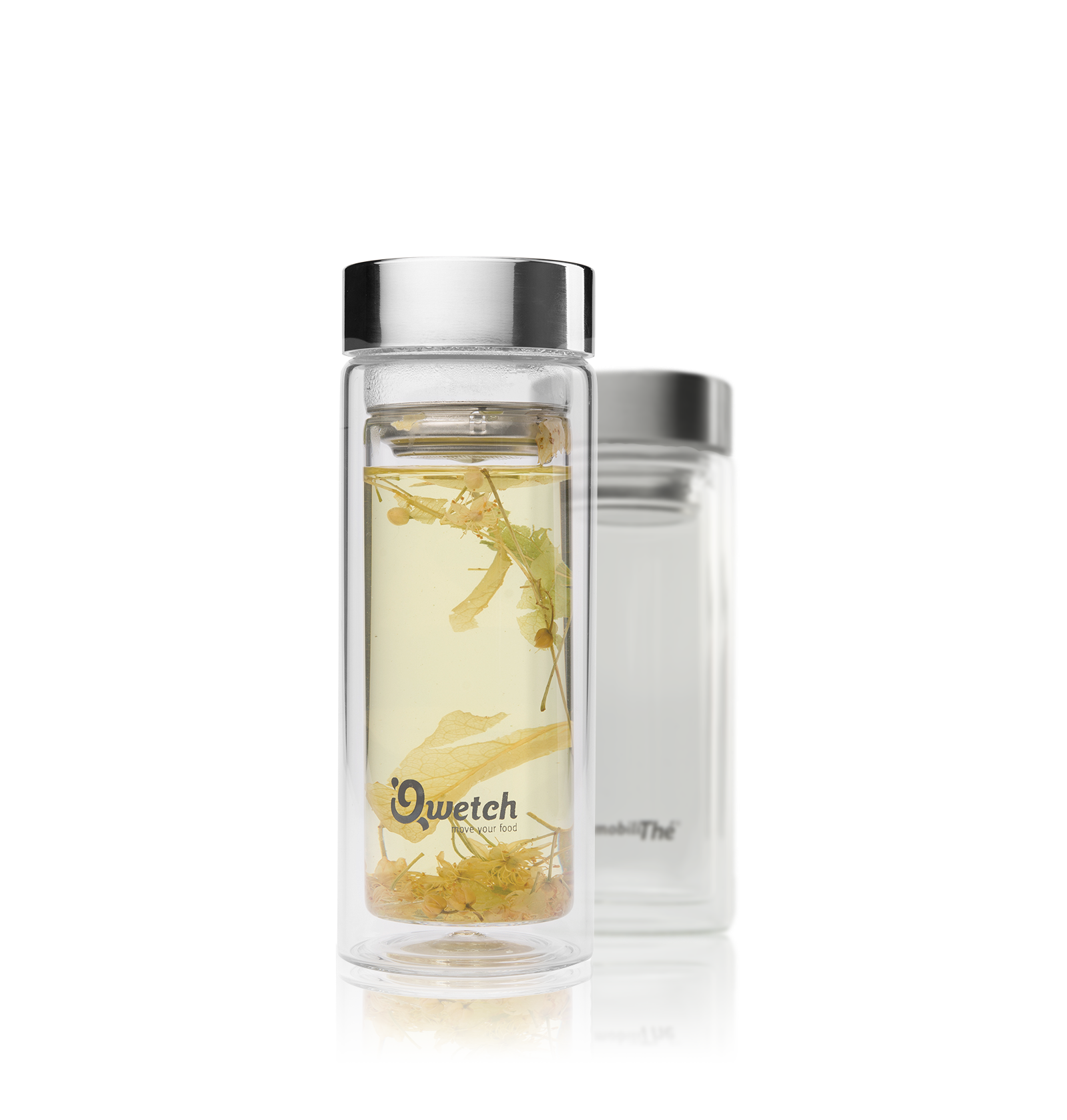 Infusion - Théière Nomade en verre double paroi, bouchon acier brossé, 35Cl - Vrac - Kusmi Tea