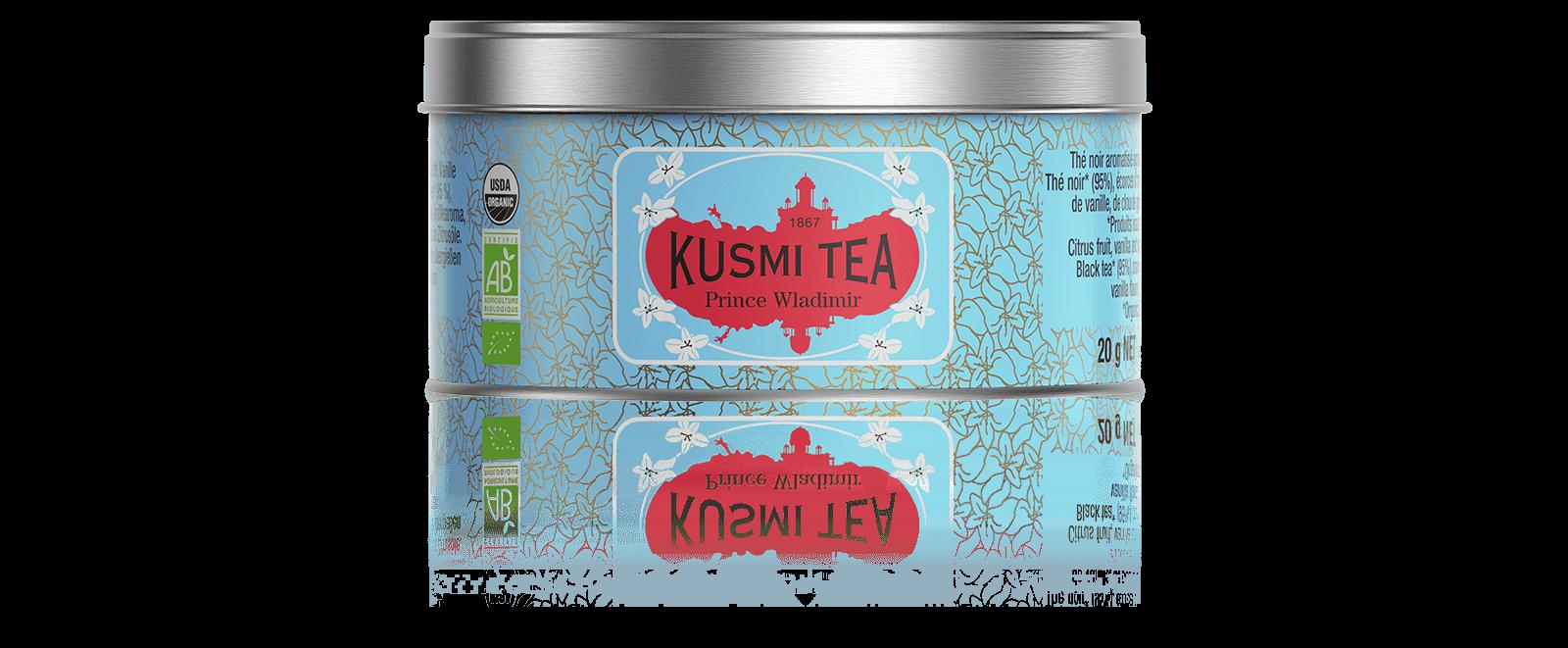 Prince Vladimir bio - Thé noir earl grey, orange - Boîte de thé en vrac - Kusmi Tea