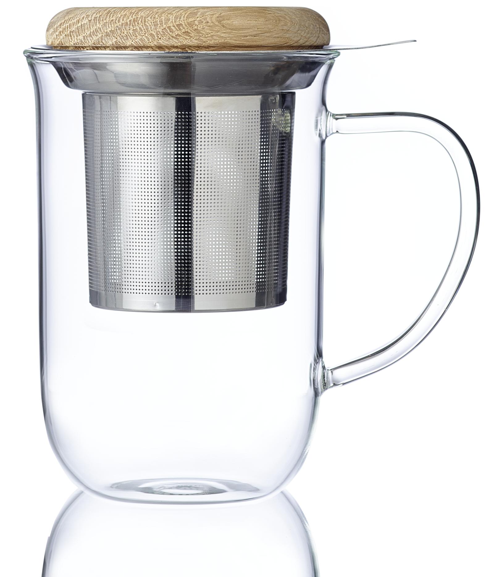 Infusion - Tisanière Minima 0,35L en verre avec filtre inox et couvercle bois - Vrac - Kusmi Tea