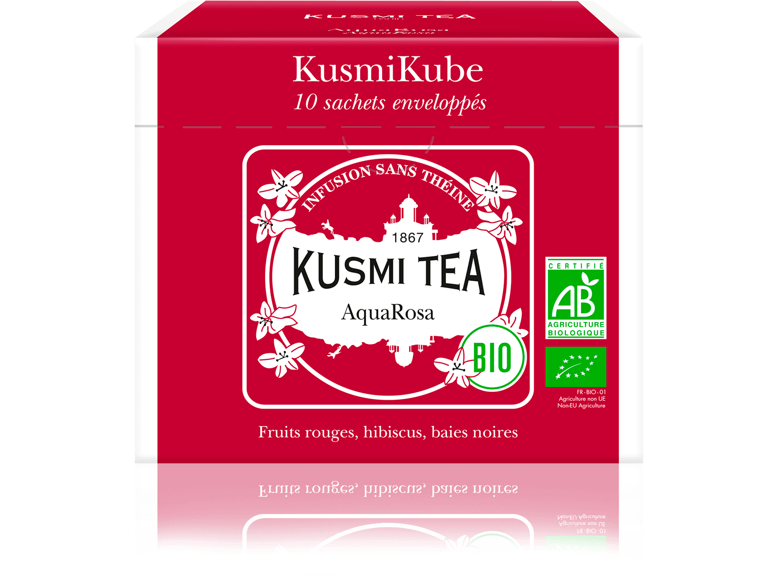 AquaRosa Infusion de fruits bio - Infusion hibiscus, fruits rouges - Sachets de thé - Kusmi Tea
