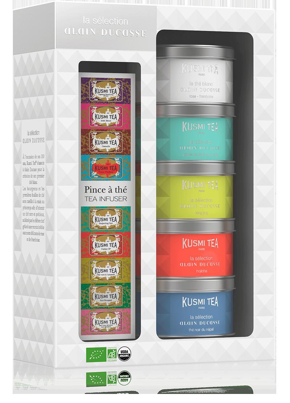 Coffret La Sélection Alain Ducasse avec une pince à thé - Thé bio - Kusmi Tea