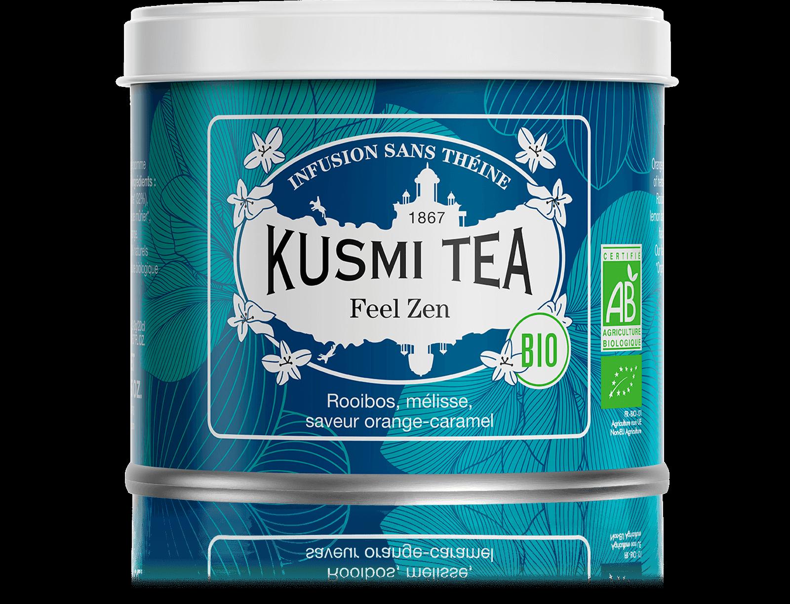 Feel Zen Infusion bio - Rooibos pomme, mélisse - Boîte de thé en vrac - Kusmi Tea