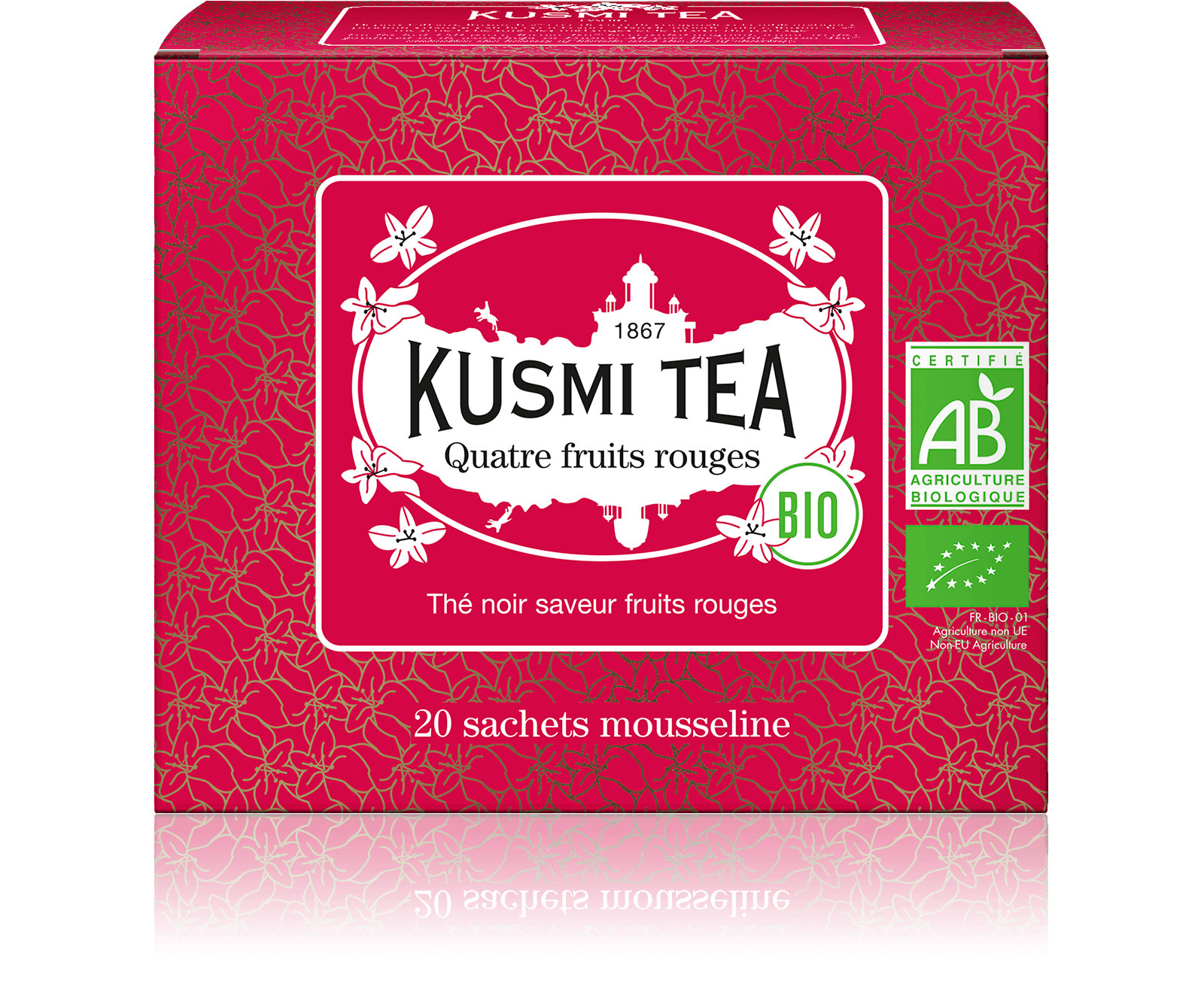 Quatre Fruits Rouges bio - Thé noir, fruits rouges - Sachets de thé - Kusmi Tea
