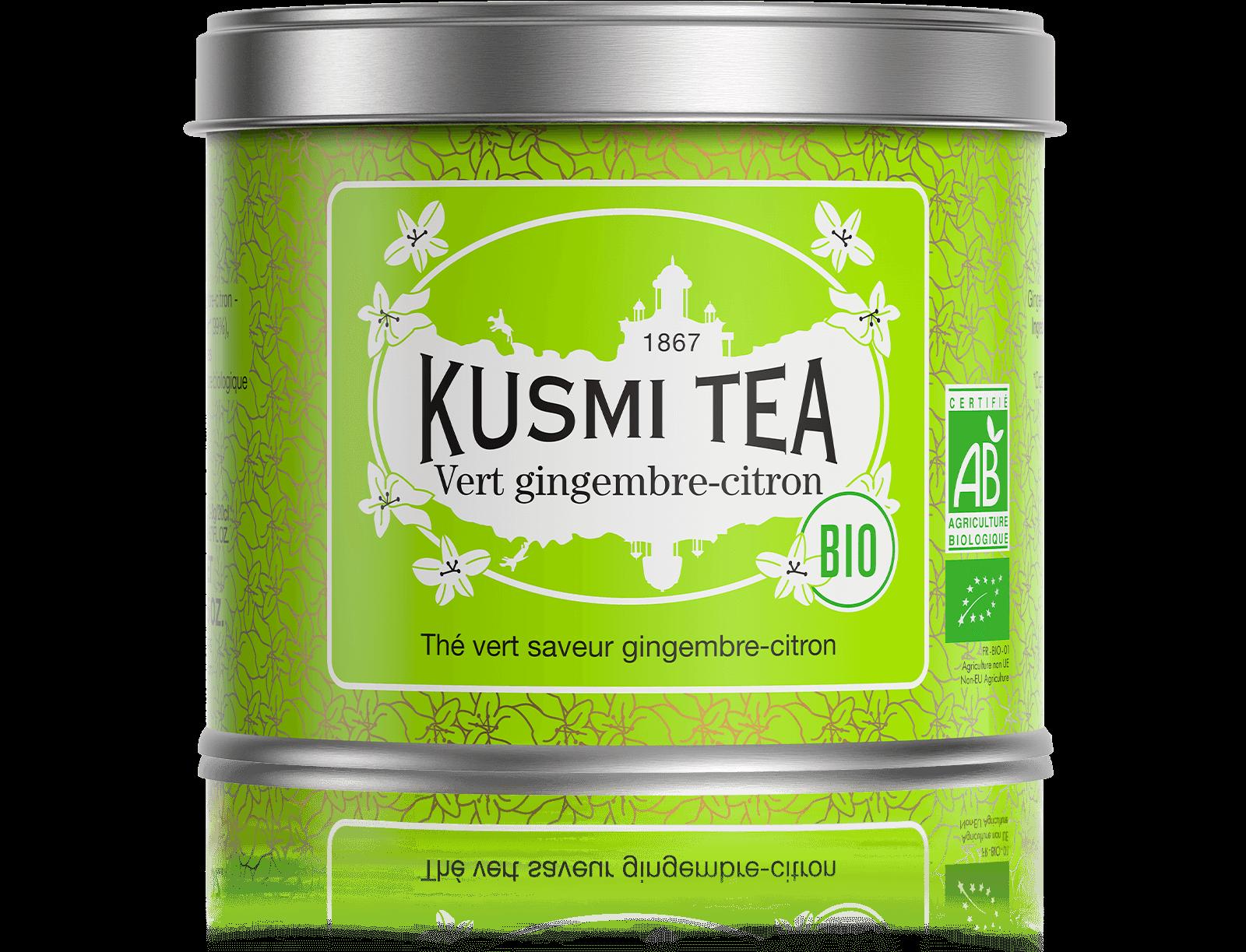 Vert gingembre-citron bio - Thé vert, gingembre, citron - Boîte de thé en vrac - Kusmi Tea