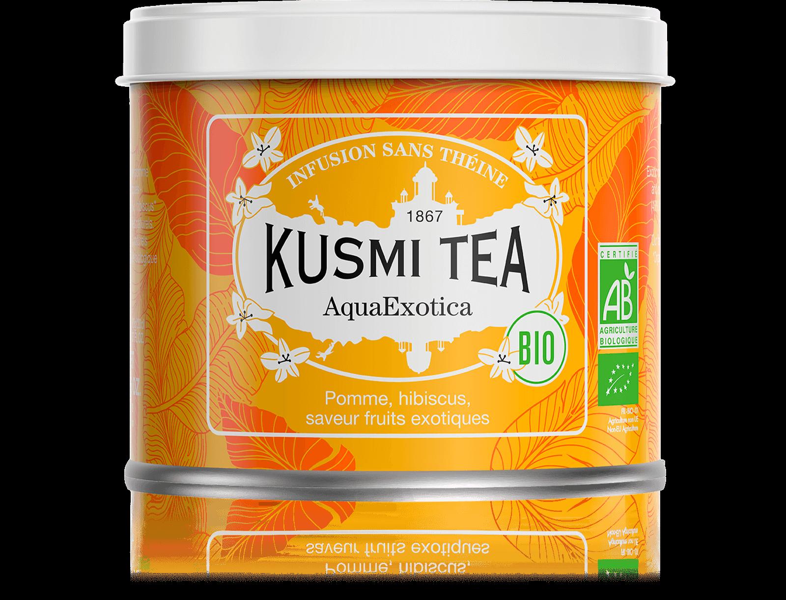 AquaExotica Infusion de fruits bio - Infusion hibiscus, mangue - Boîte de thé en vrac - Kusmi Tea