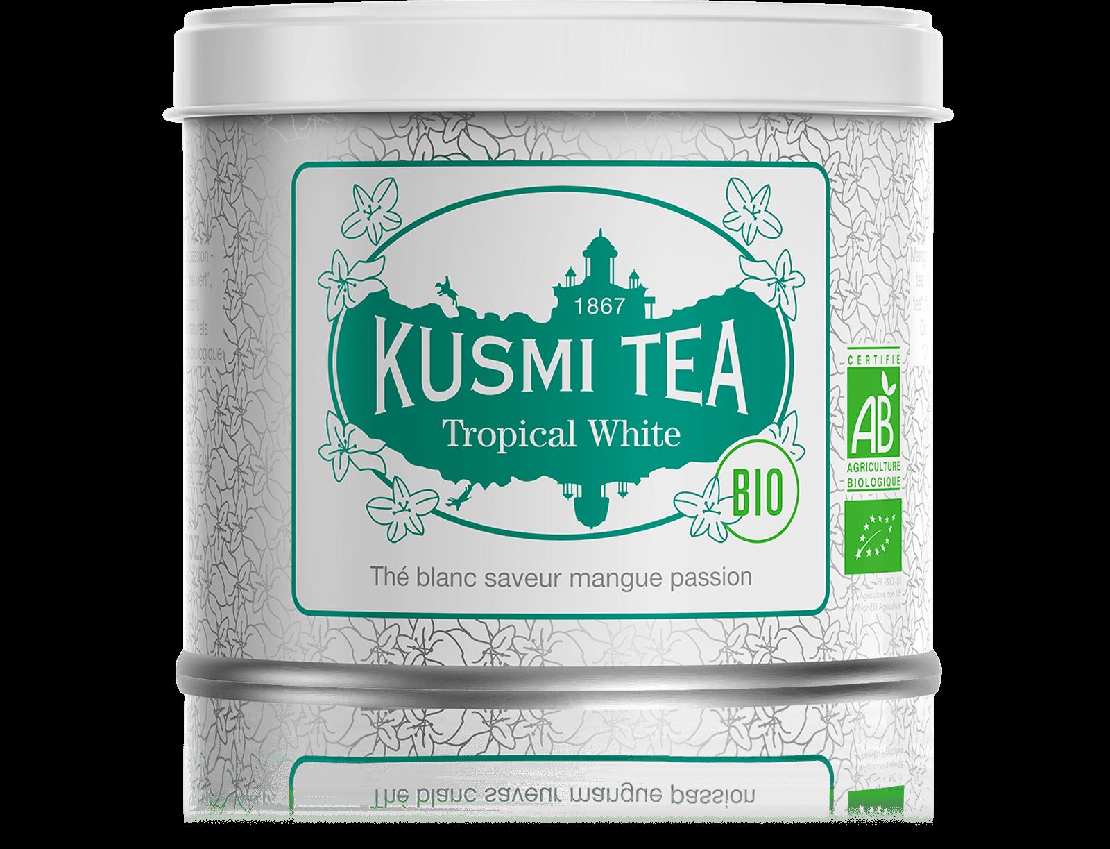 Tropical White bio - Thé blanc, mangue, passion - Boîte de thé en vrac - Kusmi Tea